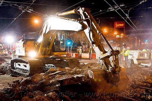 caterpillar 322L excavator, at work, cat 322l, caterpillar, demolition, excavator, heavy equipment, light rail, machinery, muni, ntk, overhead lines, railroad construction, railroad tracks, rails, railway tracks, san francisco municipal railway, track maintenance, track work, working