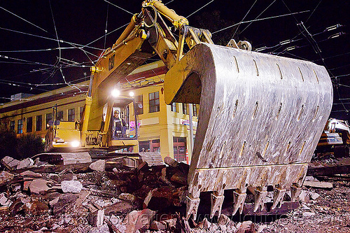 caterpillar 326L excavator, at work, bucket attachment, cat 326l, demolition, excavator bucket, light rail, muni, night, ntk, overhead lines, railroad construction, railroad tracks, railway tracks, san francisco municipal railway, track maintenance, track work, working