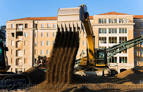 caterpillar 330D excavator - moving gravel, abandoned building, abandoned hospital, at work, bucket attachment, building demolition, cat 330d, caterpillar 330d, caterpillar excavator, excavator bucket, gravel, heavy equipment, hydraulic, machinery, presidio hospital, presidio landmark apartments, working
