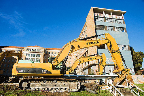 caterpillar CAT 330D excavators, abandoned building, abandoned hospital, building demolition, cat 330d, caterpillar 330d, caterpillar excavator, presidio hospital, presidio landmark apartments