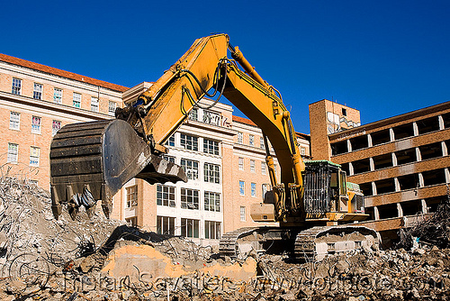 caterpillar CAT 375  excavator - building demolition, abandoned building, abandoned hospital, at work, bucket attachment, building demolition, cat 375 excavator, caterpillar 375 excavator, caterpillar excavator, excavator bucket, ferma corporation, heavy equipment, hydraulic, machinery, presidio hospital, presidio landmark apartments, working