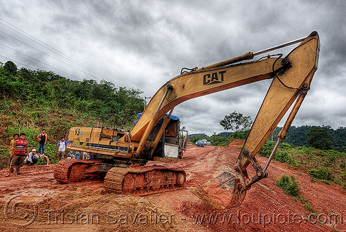 caterpillar CAT E200B excavator - road construction (laos), at work, cat e200b, caterpillar e200b, dirt road, excavator, heavy equipment, hydraulic, machinery, mud, unpaved, working