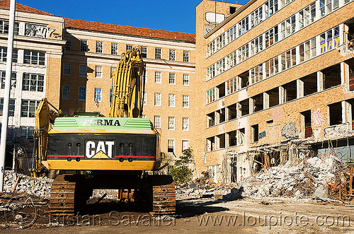 caterpillar excavator - building demolition, abandoned building, abandoned hospital, ferma corporation, heavy equipment, hydraulic, machinery, presidio hospital, presidio landmark apartments