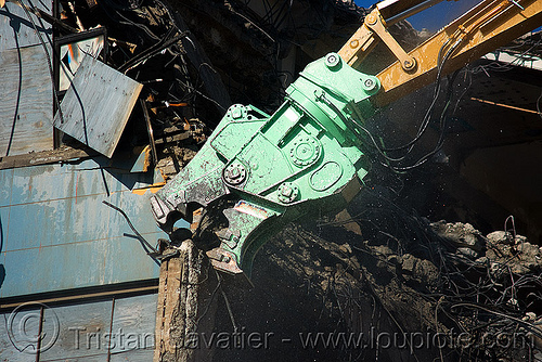 caterpillar MP30 concrete pulverizer jaws - building demolition, abandoned building, anthropomorphic, at work, attachment, cat 385c, cat mp30, caterpillar excavator, crane, heavy equipment, high reach demolition, hydraulic, long reach demolition, machinery, presidio hospital, working