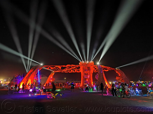 cathedral by root society - burning man 2019, burning man, glowing, night, red, stage, white lasers