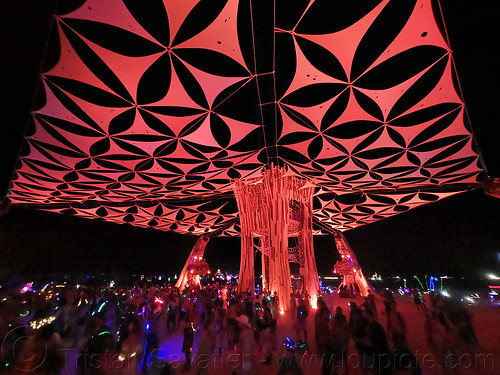 cathedral by root society - burning man 2019, burning man, night