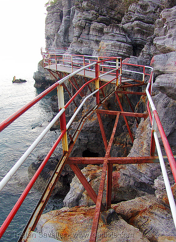 catwalk along sea cliff - vietnam, cat ba, cat ba island, cat walk, cát bà, metal, ocean, red, risted, rocks, rusted, rusty, seashore, shore, trespassing, white