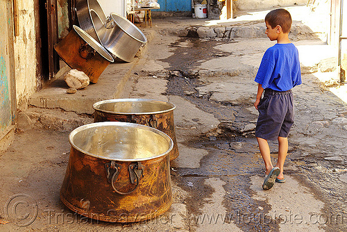 cauldrons market - mardin (kurdistan region, turkey), boy, cauldrons, child, kid, mardin, street seller