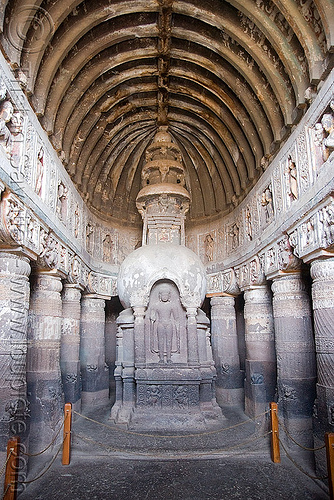 cave 19 - ajanta caves - ancient buddhist temples (india), ajanta caves, buddha image, buddha statue, buddhism, buddhist temple, cave, rock-cut, standing