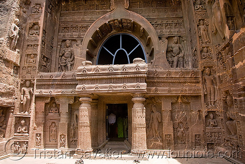 cave 19 - ajanta caves - ancient buddhist temples (india), buddhism, buddhist temple, rock-cut