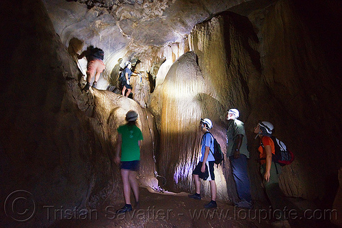 caving in mulu - racer cave (borneo), cave formations, cavers, concretions, gunung mulu, gunung mulu national park, knotted rope, natural cave, people, speleothems, spelunkers, spelunking, wall