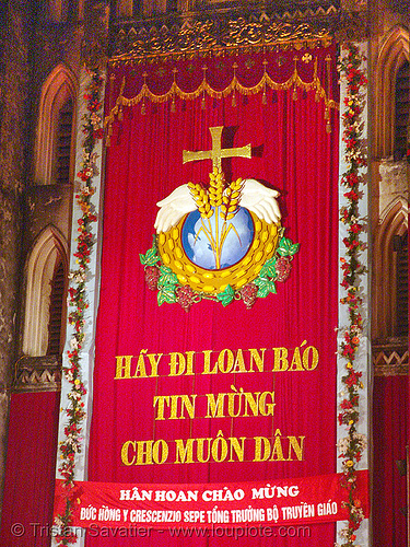 celebration in front of hanoi cathedral - vietnam, cathedral, celebration, church, cross, hanoi, red, religion, sign, yellow