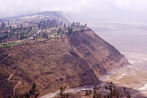 cemoro lawang - tengger caldera, agriculture, bromo volcano, cemoro lawang, cliff, desert, farming, fields, gunung bromo, java, lautan pasir, mountains, tengger caldera, volcanic ash