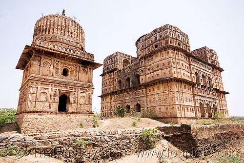 cenotaph monument in orchha (india), architecture, cenotaphs, india, monument, orchha, ruins