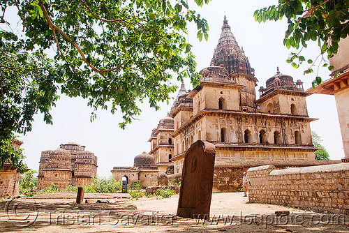 cenotaph ruins in orchha, architecture, cenotaphs, india, monument, orchha, ruins