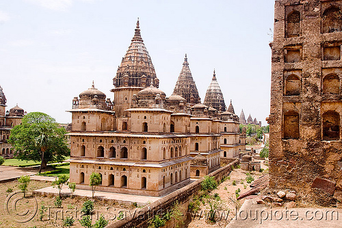 cenotaph ruins - orchha (india), architecture, cenotaphs, india, monument, orchha, ruins
