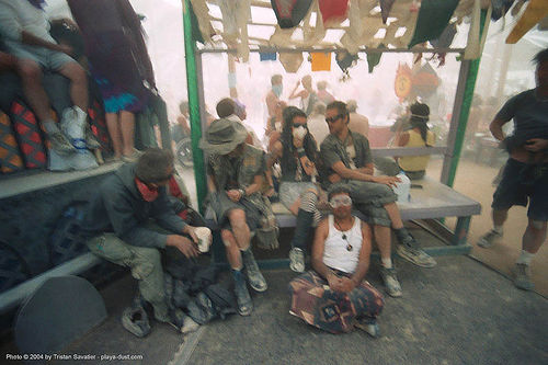 center camp during a dust storm - burning-man 2003, burning man, cafe, dust storm