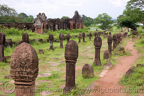 central alley - wat phu champasak (laos), central alley, hindu temple, hinduism, khmer temple, laos, main alley, ruins, wat phu champasak