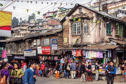 central bazar market - darjeeling (india), crowd, people, shops, stores, street