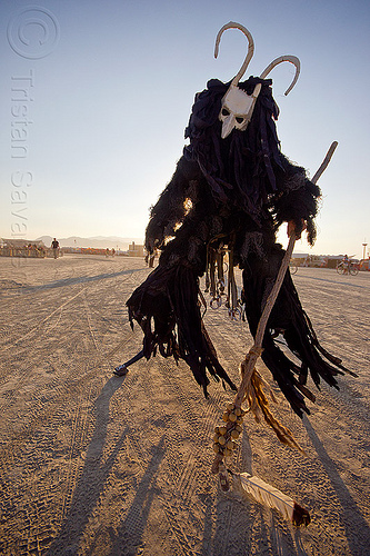 cernunnos - horned god - burning man 2013, burning man, cane, celtic deity, ceremonial staff, ceremonial stick, cernunnos, costume, demonic, evil spirit, horned, horns, mask, masked, performance, shaman, stilter, stilts