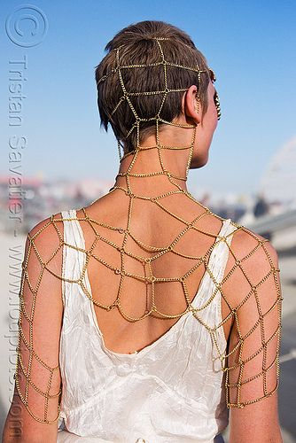chain mesh jewelry, astrid, burning man, chain mesh, chains, fashion show, jewelry, woman
