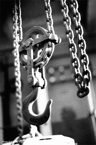 chain pulley - grands moulins de paris - palan, chain, hook, industrial mill, paris, pulley, trespassing