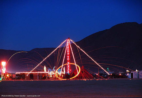chairway to heaven by jim hillas - burning-man 2004, art, burning man, long exposure, night