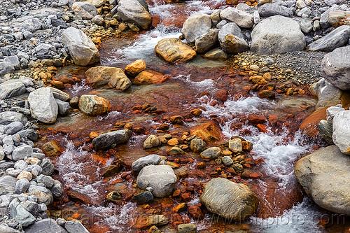chalybeate waters - ferruginous springs (nepal), annapurnas, mineral, stream, water