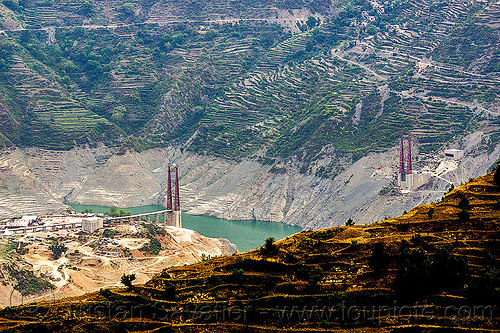 chanthi dobar bridge - construction of a suspension bridge over the bhagirathi river (india), artificial lake, bhagirathi river, bhagirathi valley, bridge towers, chanthi dobar bridge, construction, infrastructure, mountains, reservoir, road, suspension bridge, tehri lake, tower, water