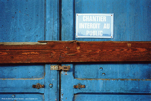 chantier interdit au public - grands moulins de paris, blue, closed, condemned door, industrial mill, paris, trespassing