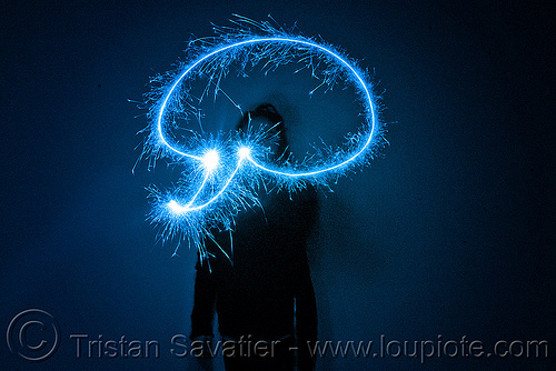 chat bubble - light painting with a blue sparkler, blue, chat bubble, dark, icon, light drawing, light painting, sarah, silhouette, sparklers, sparkles, symbol