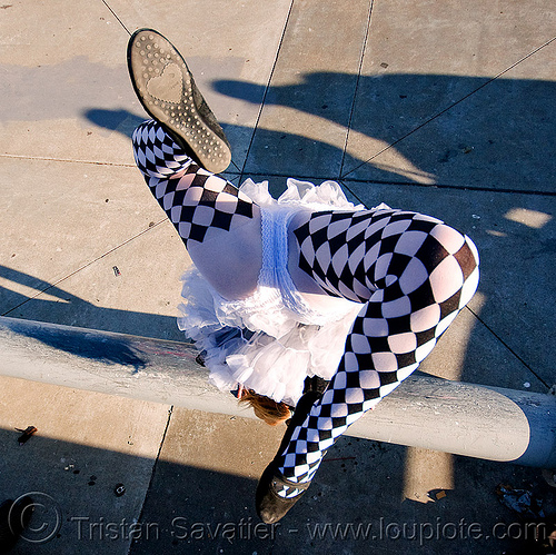 checker pattern tights (stockings), catie, checker pattern, handstand, islais creek promenade, stockings, superhero street fair, tights, tutu, woman