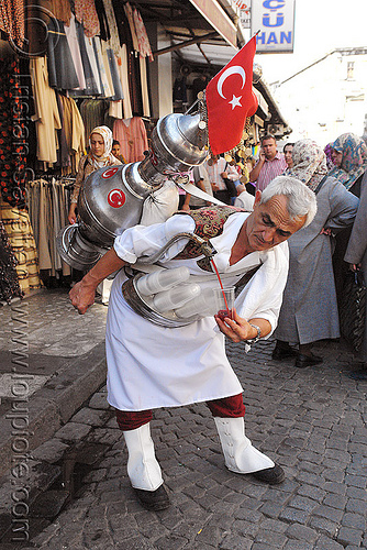cherry juice vendor, bazaar, cherry juice, cup, flag, istanbul, man, pouring, street vendor, tank