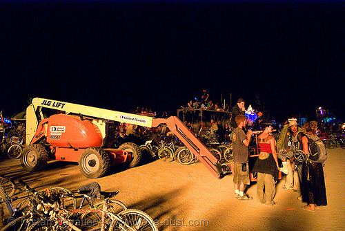 cherry picker - burning man 2007, aerial lift, boom lift, crane, dpw, hydraulic, night, padawan, people