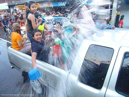 เชียงใหม่ - chiang mai - สงกรานต์ - songkran festival (thai new year) - thailand, buckets, chiang mai, children, kids, pickup truck, soaked, songkran, street, thai new year, water festival, wet, ประเทศไทย, สงกรานต์, เชียงใหม่