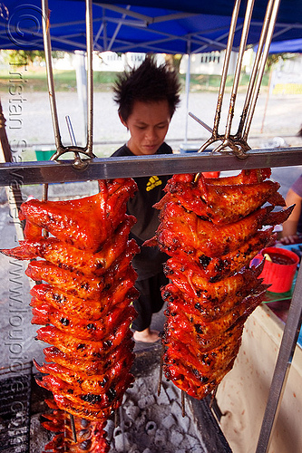 chicken wings grill, barbecue, bbq, borneo, cooked meat, cooking, food market, grill, kitchen, malaysia, man, miri, poultry, ramadan market, restaurant, street food, street market, street seller