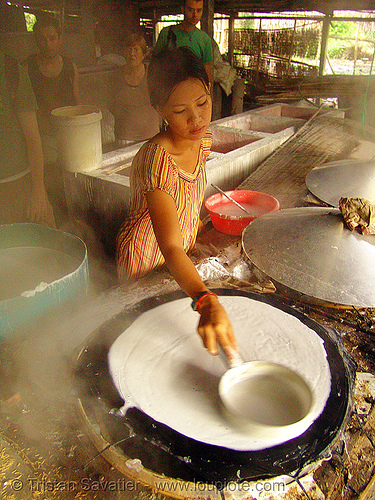 child labor in rice noddle factory - vietnam, child labour, cooking, rice noddle factory