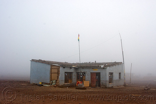 chile-bolivia border station near san pedro de atacama, altiplano, border crossing, border line, border post, chile, custom house, customs, fog, hazy, international border, misty, pampa, san pedro de atacama