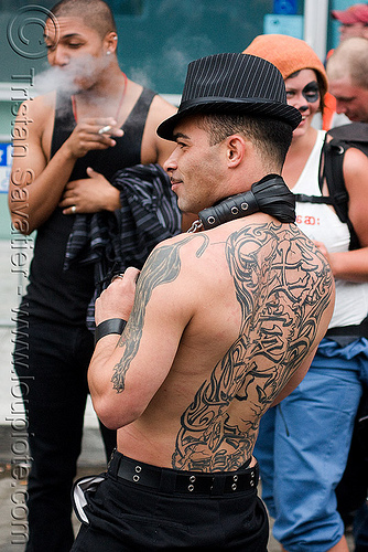 chinese back tattoo, backpiece, dore alley fair, fedora hat, people, tattooed, tattoos