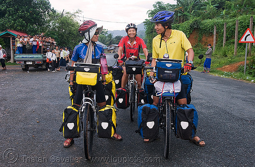 chinese bicyclists - laos, bicycle bags, bicycle gear, bicycle touring, bicycles, bikers, bikes, people, road