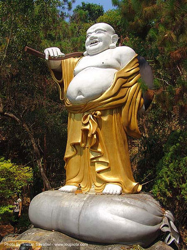 chinese budai - fat buddha on bag - thailand, hotei, laughing buddha, sculpture, statue, ประเทศไทย, สังกัจจายน์, 布袋, 笑佛