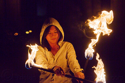 chinese girl spinning fire staffs - mel, double staff, fire dancer, fire dancing, fire performer, fire spinning, fire staffs, flames, mel, night, staves, woman