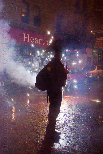 chinese new year in chinatown (san francisco), backlight, backpack, chinatown bang, chinese new year, firecrackers, grant st, heart of shanghai, lunar new year, man, night, pyrotechnics, silhouette, smoke, sparks, umbrella