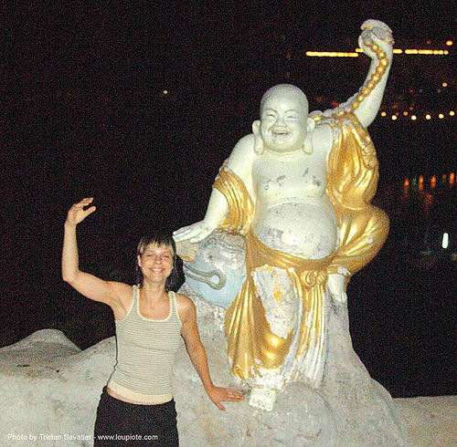 chinese temple - budai - tha ton - near fang (thailand), anke rega, budai, chinese temple, fat buddha, hotei, laughing buddha, night, sculptures, statue, tha ton, woman, ประเทศไทย, สังกัจจายน์, 布袋, 笑佛