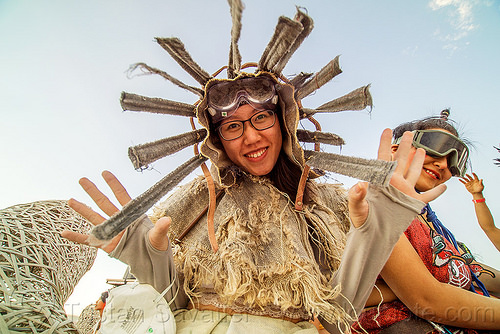 chinese woman in traditional costume - mazu procession - burning man 2016, burning man, chinese, costume, glasses, goggles, mazu camp, traditional, woman
