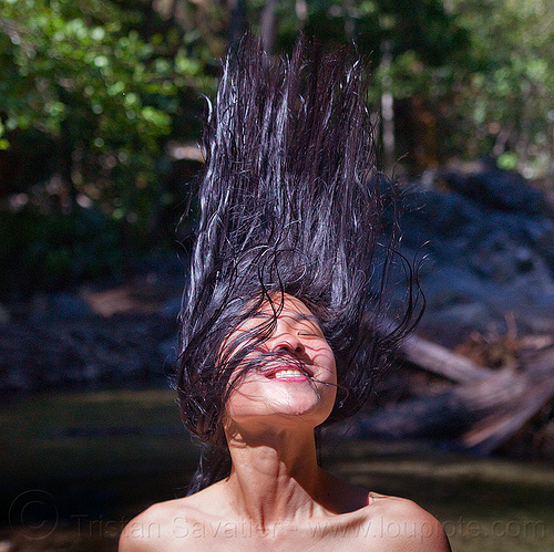 whipping hair, bathing, big sur, pine ridge trail, sharon, sykes hot springs, trekking, vantana wilderness, woman