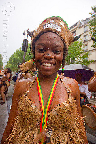 choukaj at the carnaval tropical de paris, bra, caribbean, carnival, costumes, creole, créole, dancer, dancing, festival, guadeloupe, hat, horns, indigenous, indigenous culture, parade, people, traditional, tribal, west indies, woman