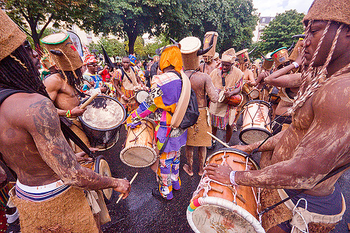choukaj at the carnaval tropical de paris, caribbean, carnaval tropical, choukaj, costumes, creole, crowd, créole, guadeloupe, hat, indigenous culture, parade, paris, traditional, tribal, west indies