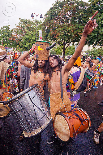 choukaj at the carnaval tropical de paris, caribbean, carnaval tropical, carnival, choukaj, costumes, creole, créole, drum, drumd, drummers, festival, guadeloupe, hat, horns, indigenous culture, men, parade, paris, traditional, tribal, west indies
