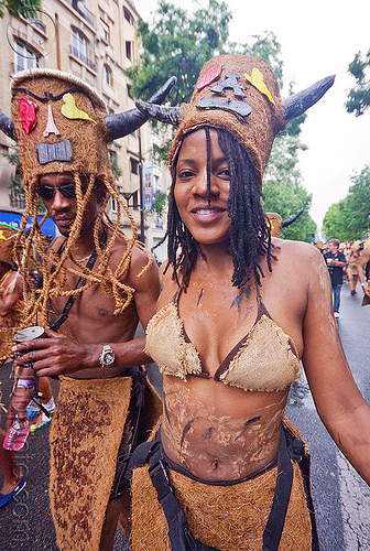 choukaj at the carnaval tropical de paris, caribbean, carnaval tropical, carnival, choukaj, costumes, creole, créole, festival, guadeloupe, hat, horns, indigenous culture, man, parade, paris, traditional, tribal, west indies, woman